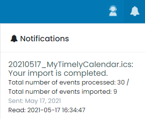 """print screen of the notification of events that were not imported due to the option """"Import upcoming events only"""" being checked and the file containing past events"""