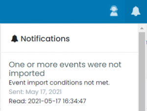 print screen of the notification of events that were not imported due to malformed data in the file uploaded