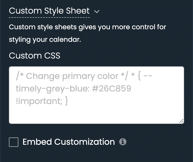 print screen of timely dashboard custom style sheet settings