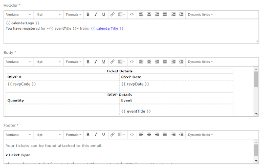 print screen of the editing areas for header, body and footer areas of Email Templates section of Timely's dashboard