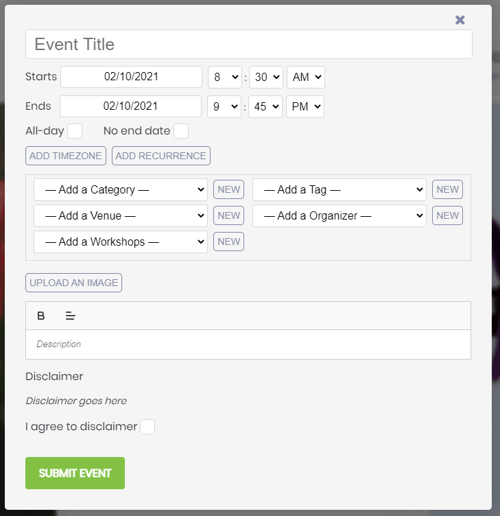 print screen of the front end submission form in the public events calendar