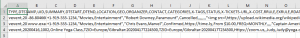 print screen of the Journey Sample CSV file opened in Microsoft Excel.