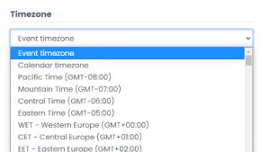 print screen of the timezone options dropdown menu