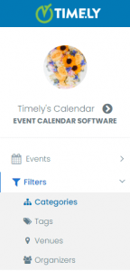 print screen of the Filter menu item opened and selected in Timely Calendar's dashboard