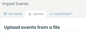 print screen of the upload events from a file tab in Timely Calendar dashboard