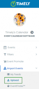 print screen of the Timely Calendar Menu with the Upload option marked with a green square around it