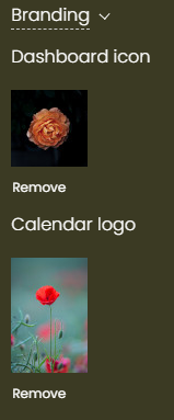 print screen of the Branding area with a Dashboard icon and a Calendar logo uploaded images